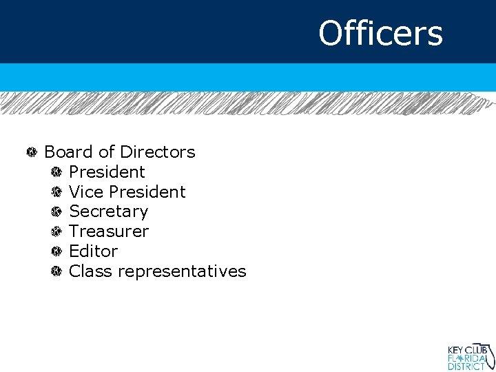 Officers Board of Directors President Vice President Secretary Treasurer Editor Class representatives