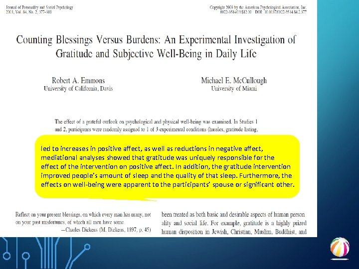 led to increases in positive affect, as well as reductions in negative affect, mediational