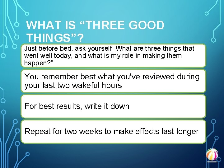"""WHAT IS """"THREE GOOD THINGS""""? Just before bed, ask yourself """"What are three things"""
