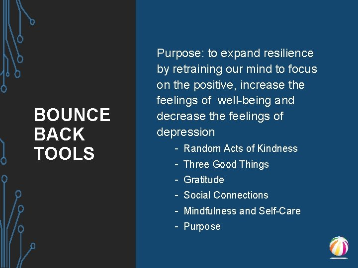 BOUNCE BACK TOOLS Purpose: to expand resilience by retraining our mind to focus on