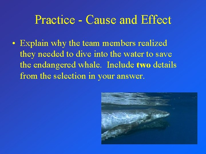 Practice - Cause and Effect • Explain why the team members realized they needed