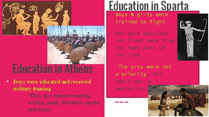 Education in Sparta • Boys & girls were trained to fight • Men and