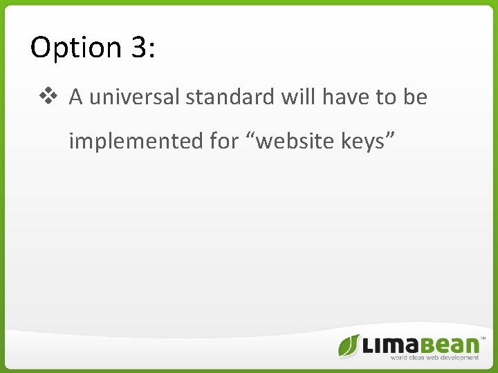 """Option 3: v A universal standard will have to be implemented for """"website keys"""""""