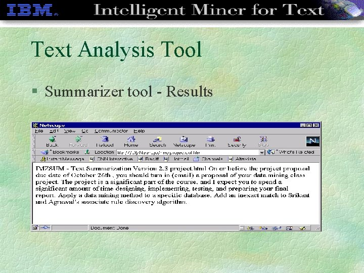 Text Analysis Tool § Summarizer tool - Results