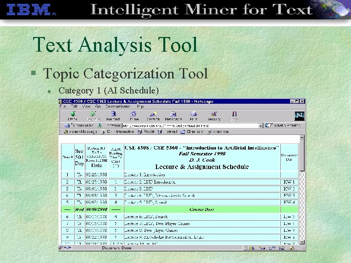 Text Analysis Tool § Topic Categorization Tool l Category 1 (AI Schedule)