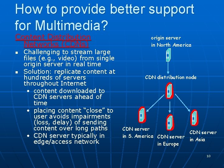 How to provide better support for Multimedia? Content Distribution Networks (CDNs) n n Challenging