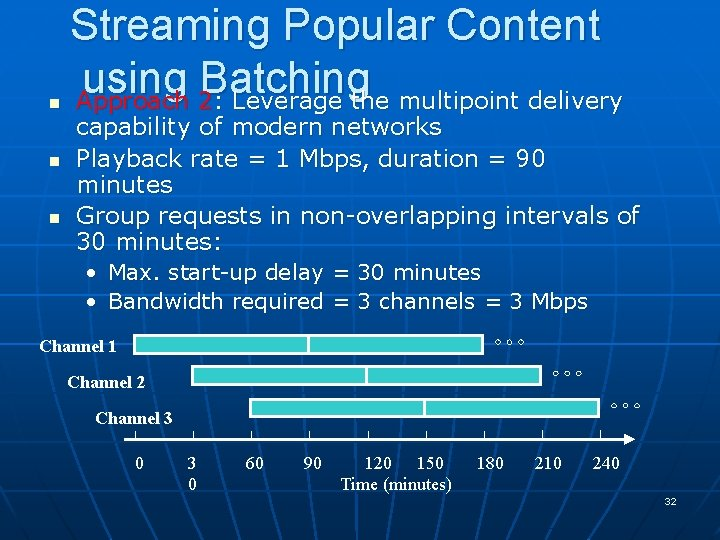 n n n Streaming Popular Content using Batching Approach 2: Leverage the multipoint delivery