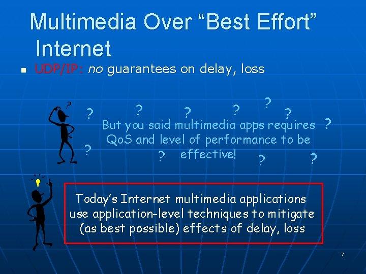"Multimedia Over ""Best Effort"" Internet n UDP/IP: no guarantees on delay, loss ? ?"