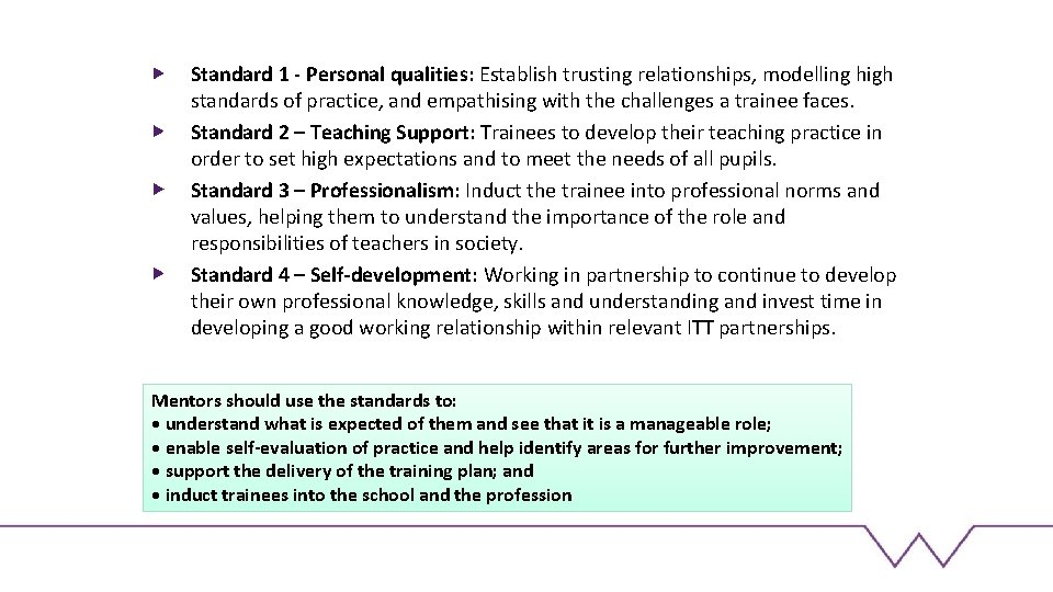 Standard 1 - Personal qualities: Establish trusting relationships, modelling high standards of practice, and