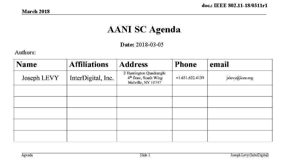 doc. : IEEE 802. 11 -18/0311 r 1 March 2018 AANI SC Agenda Date: