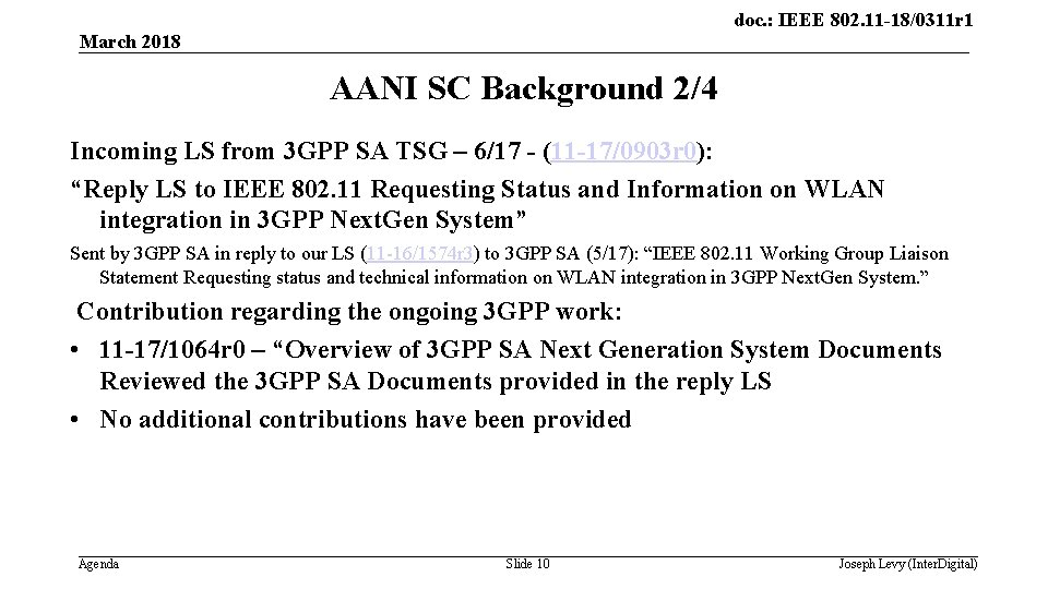 doc. : IEEE 802. 11 -18/0311 r 1 March 2018 AANI SC Background 2/4