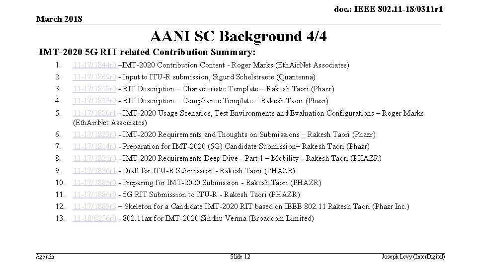 doc. : IEEE 802. 11 -18/0311 r 1 March 2018 AANI SC Background 4/4