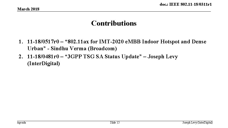 doc. : IEEE 802. 11 -18/0311 r 1 March 2018 Contributions 1. 11 -18/0517