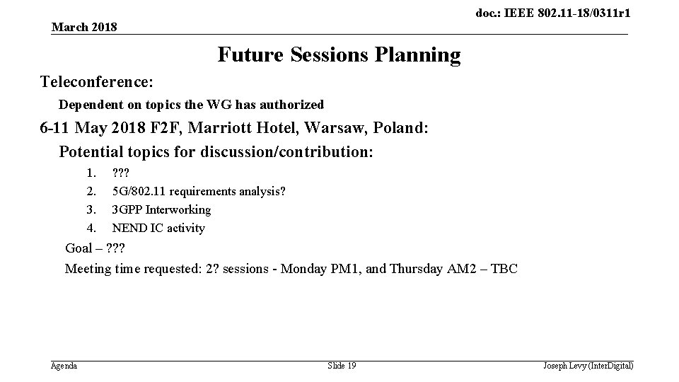 doc. : IEEE 802. 11 -18/0311 r 1 March 2018 Future Sessions Planning Teleconference: