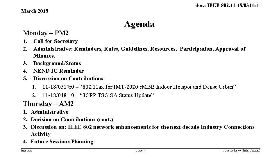 doc. : IEEE 802. 11 -18/0311 r 1 March 2018 Agenda Monday – PM
