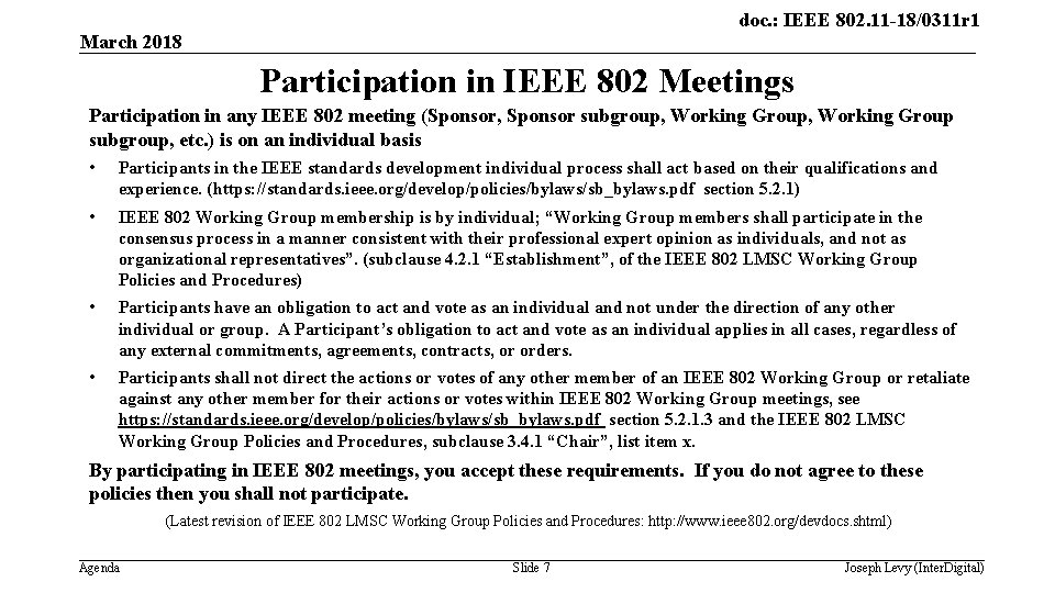 doc. : IEEE 802. 11 -18/0311 r 1 March 2018 Participation in IEEE 802