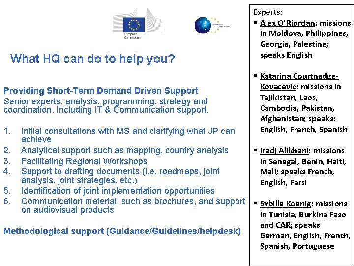 What HQ can do to help you? Providing Short-Term Demand Driven Support Senior experts: