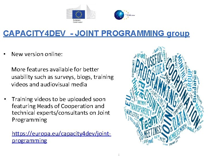 CAPACITY 4 DEV - JOINT PROGRAMMING group • New version online: More features available