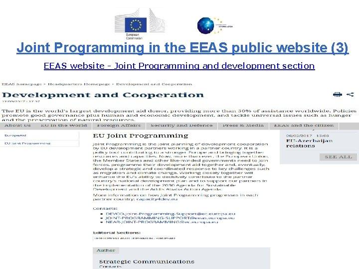 Joint Programming in the EEAS public website (3) EEAS website - Joint Programming and