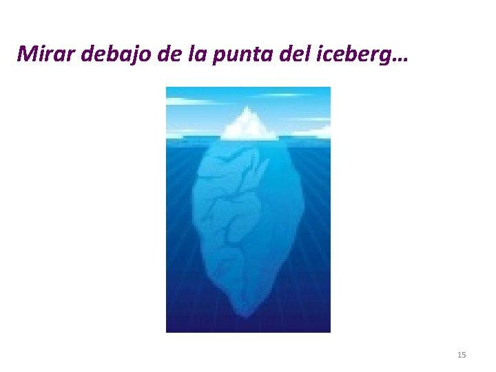 Mirar debajo de la punta del iceberg… 15