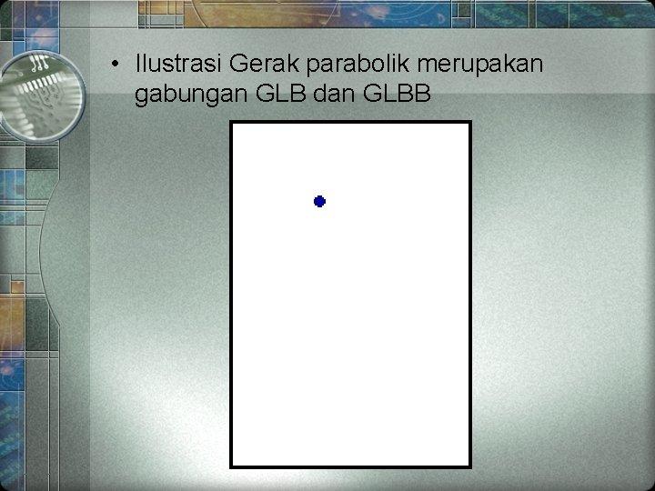 • Ilustrasi Gerak parabolik merupakan gabungan GLB dan GLBB