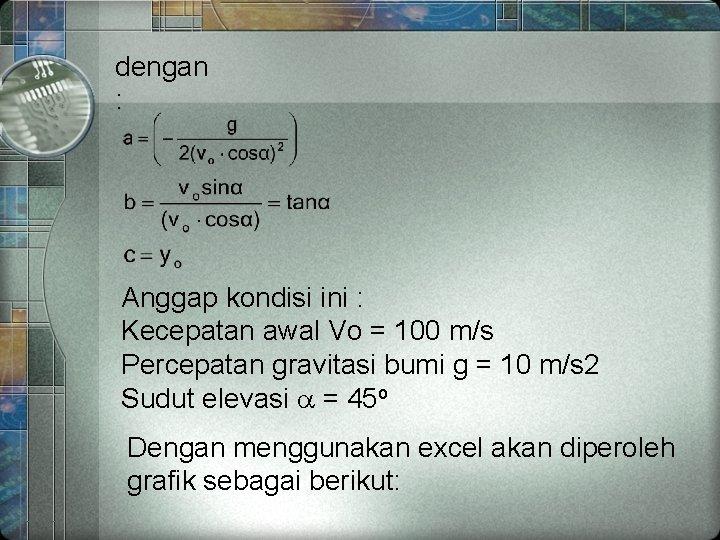 dengan : Anggap kondisi ini : Kecepatan awal Vo = 100 m/s Percepatan gravitasi