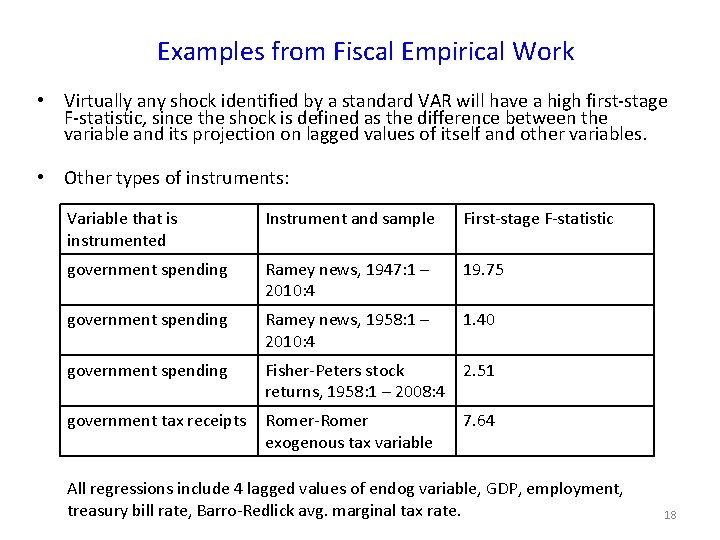 Examples from Fiscal Empirical Work • Virtually any shock identified by a standard VAR