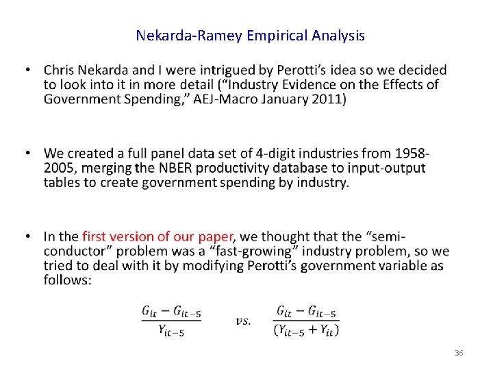 Nekarda-Ramey Empirical Analysis • 36