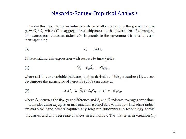 Nekarda-Ramey Empirical Analysis 40