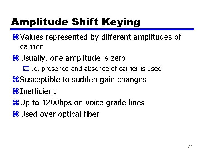 Amplitude Shift Keying z Values represented by different amplitudes of carrier z Usually, one