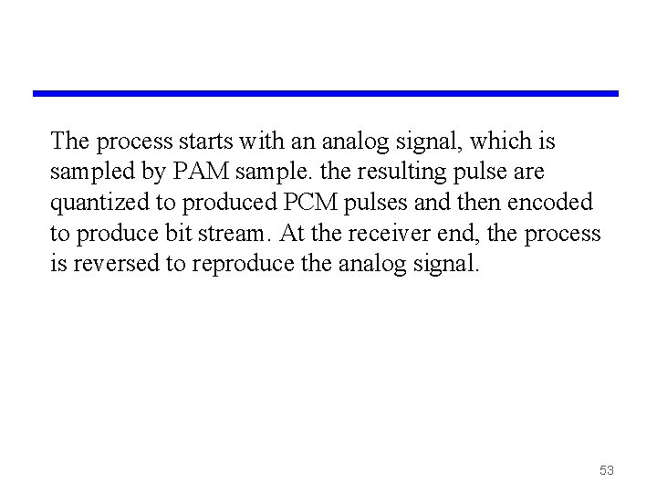 The process starts with an analog signal, which is sampled by PAM sample. the