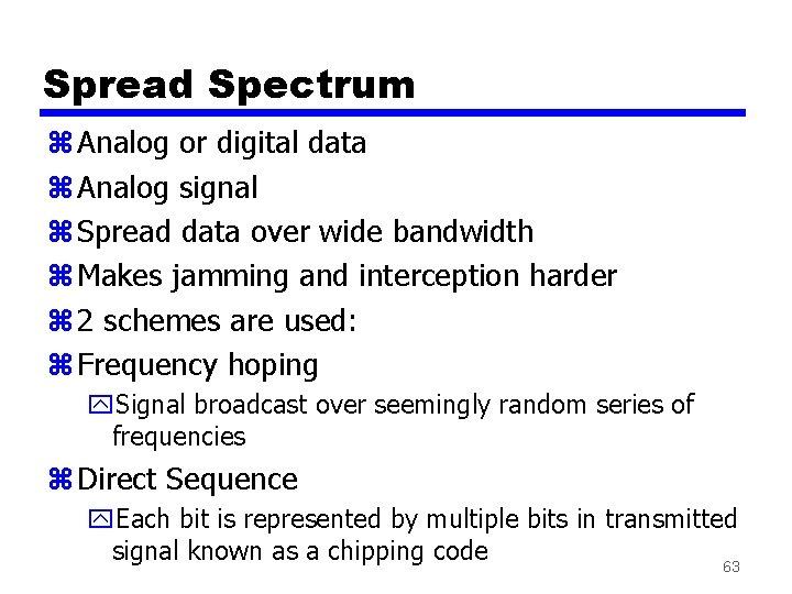Spread Spectrum z Analog or digital data z Analog signal z Spread data over