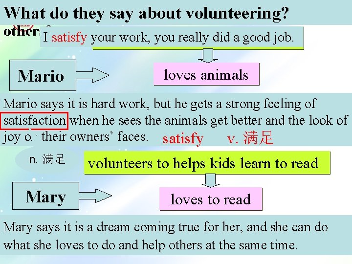 Why to help Whatdodo. Mario theyand say Mary aboutvolunteering? others? I satisfy your work,