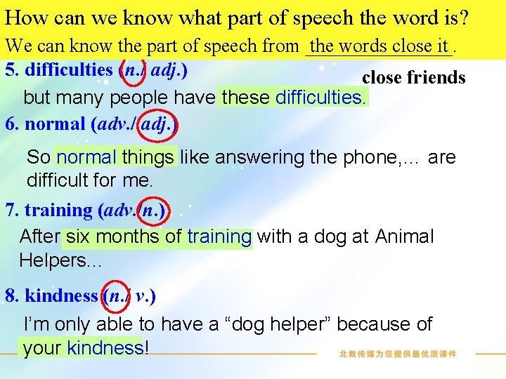 Look the list of words the is? part How weatknow what part ofbelow. speech.