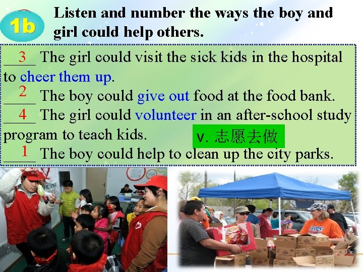 1 b Listen and number the ways the boy and girl could help others.
