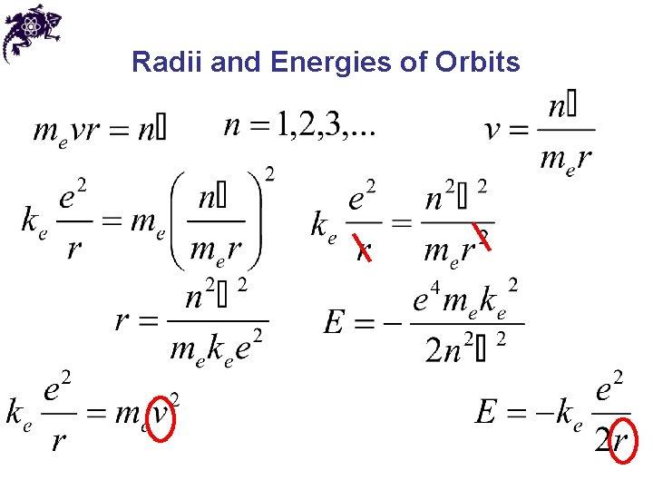 Radii and Energies of Orbits