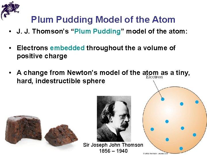 "Plum Pudding Model of the Atom • J. J. Thomson's ""Plum Pudding"" model of"