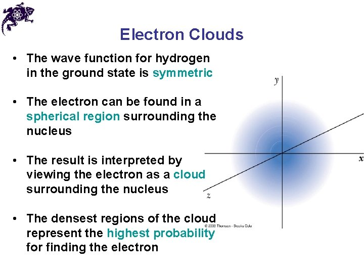 Electron Clouds • The wave function for hydrogen in the ground state is symmetric