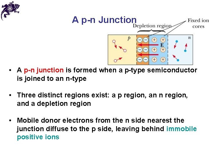 A p-n Junction • A p-n junction is formed when a p-type semiconductor is