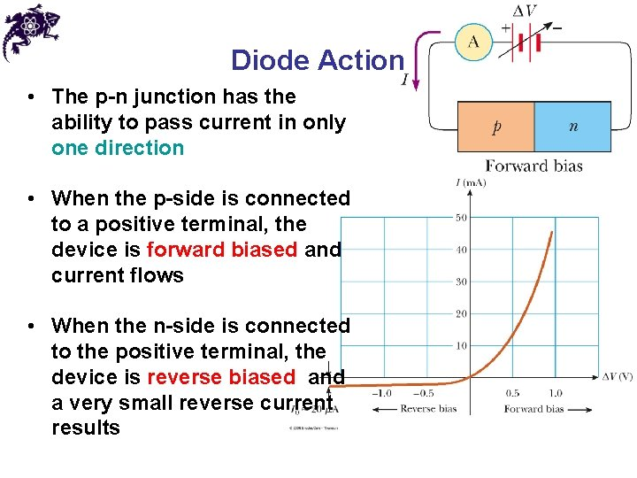 Diode Action • The p-n junction has the ability to pass current in only