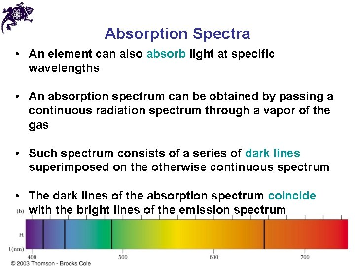 Absorption Spectra • An element can also absorb light at specific wavelengths • An