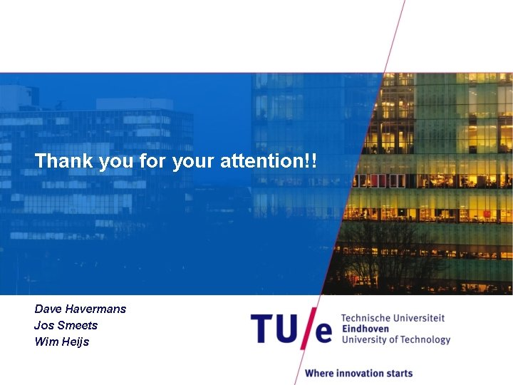 Thank you for your attention!! Dave Havermans Jos Smeets Wim Heijs