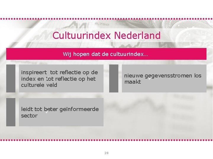 Cultuurindex Nederland Wij hopen dat de cultuurindex… inspireert tot reflectie op de index en