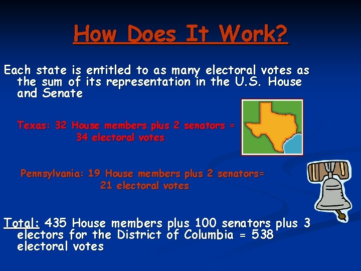 How Does It Work? Each state is entitled to as many electoral votes as