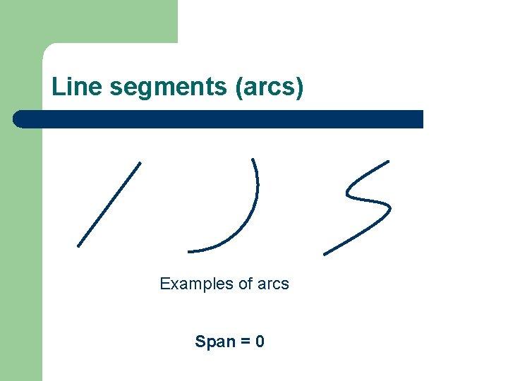 Line segments (arcs) Examples of arcs Span = 0