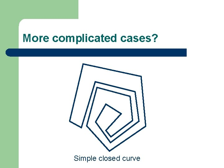More complicated cases? Simple closed curve