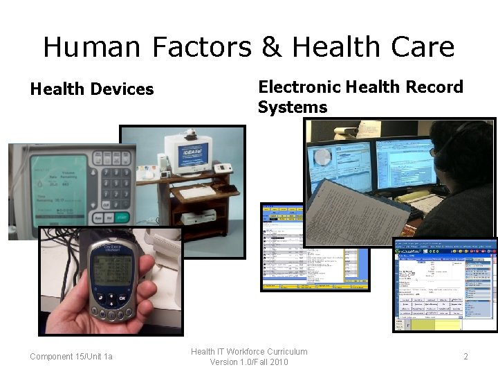 Human Factors & Health Care Health Devices Component 15/Unit 1 a Electronic Health Record