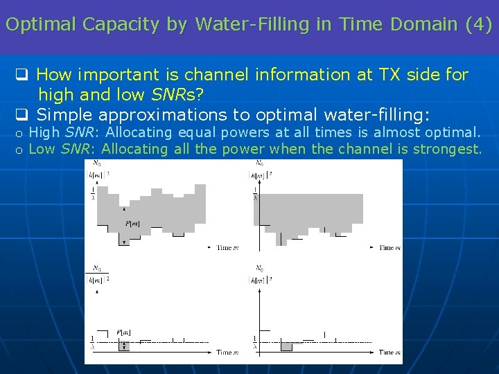 Optimal Capacity by Water-Filling in Time Domain (4) q How important is channel information