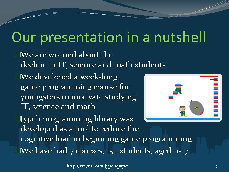 Our presentation in a nutshell �We are worried about the decline in IT, science