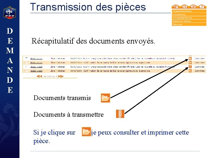 Transmission des pièces D E M A N D E Récapitulatif des documents envoyés.